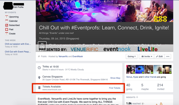 EventNook Chill Out Facebook Ticket Window