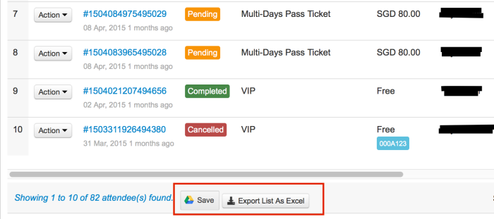 event attendees' data - export order list to excel