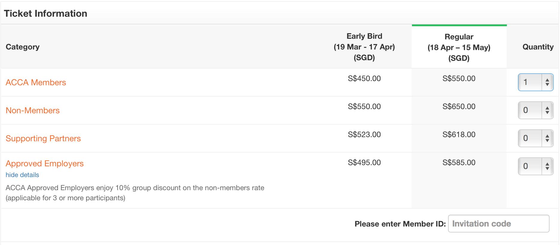 event registraiton ticket window - Invitation code for member pricing