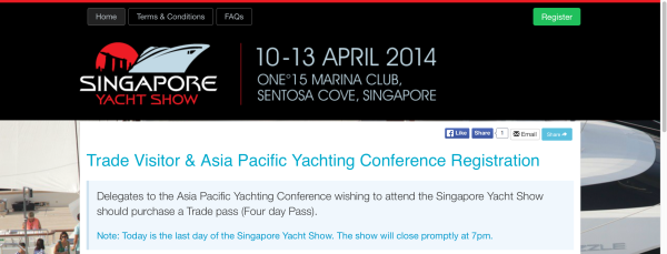 Singapore Yacht Show. Eventnook customized registration page