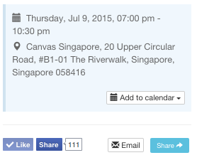 Event page that allows users to add event to calendars. Sharing on Facebook also helps them remember event better!