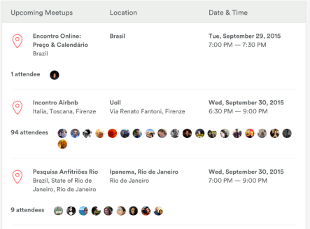 Airbnb Meetups Page