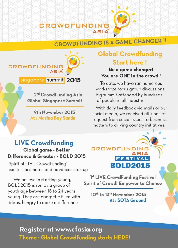eventnook Crowdfunding Asia Festival Singapore Summit Phoenixict BOLD 2015 poster