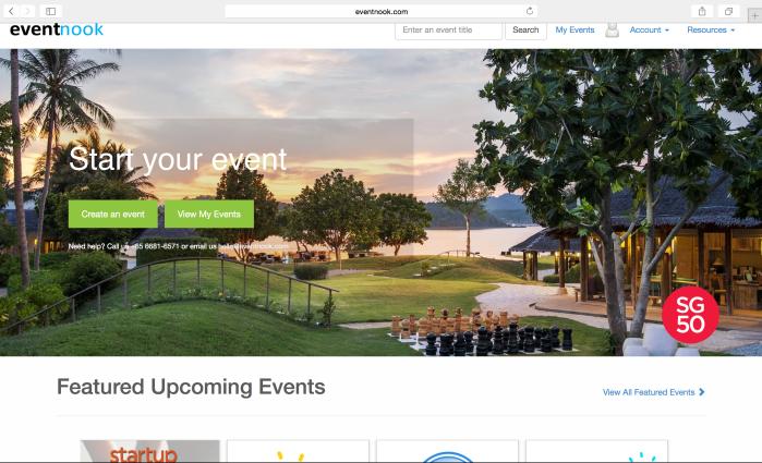 eventnook organiser profile page log in