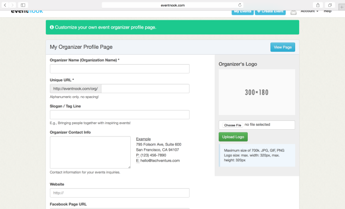 event nook create organiser profile page form