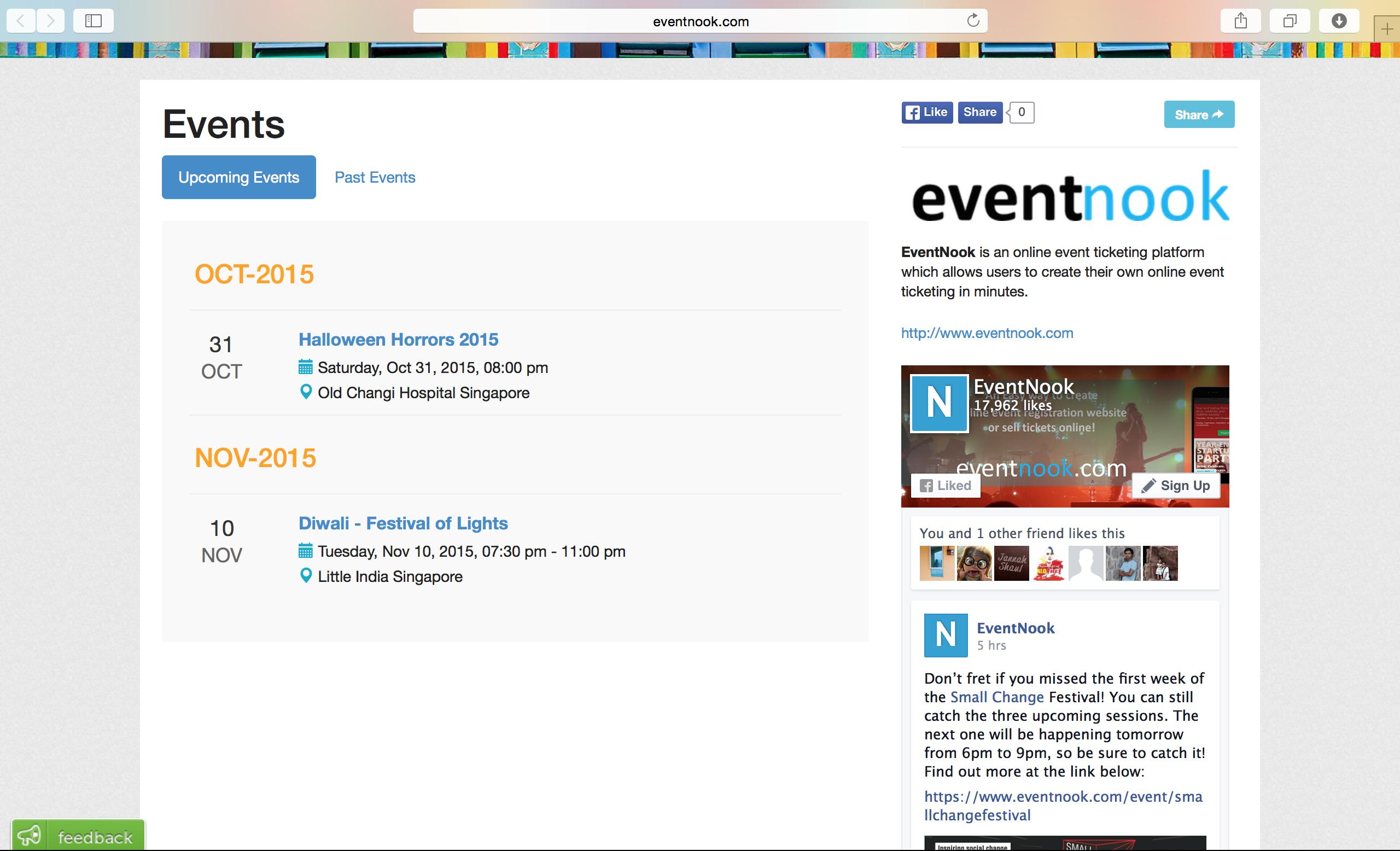 eventnook organiser profile page