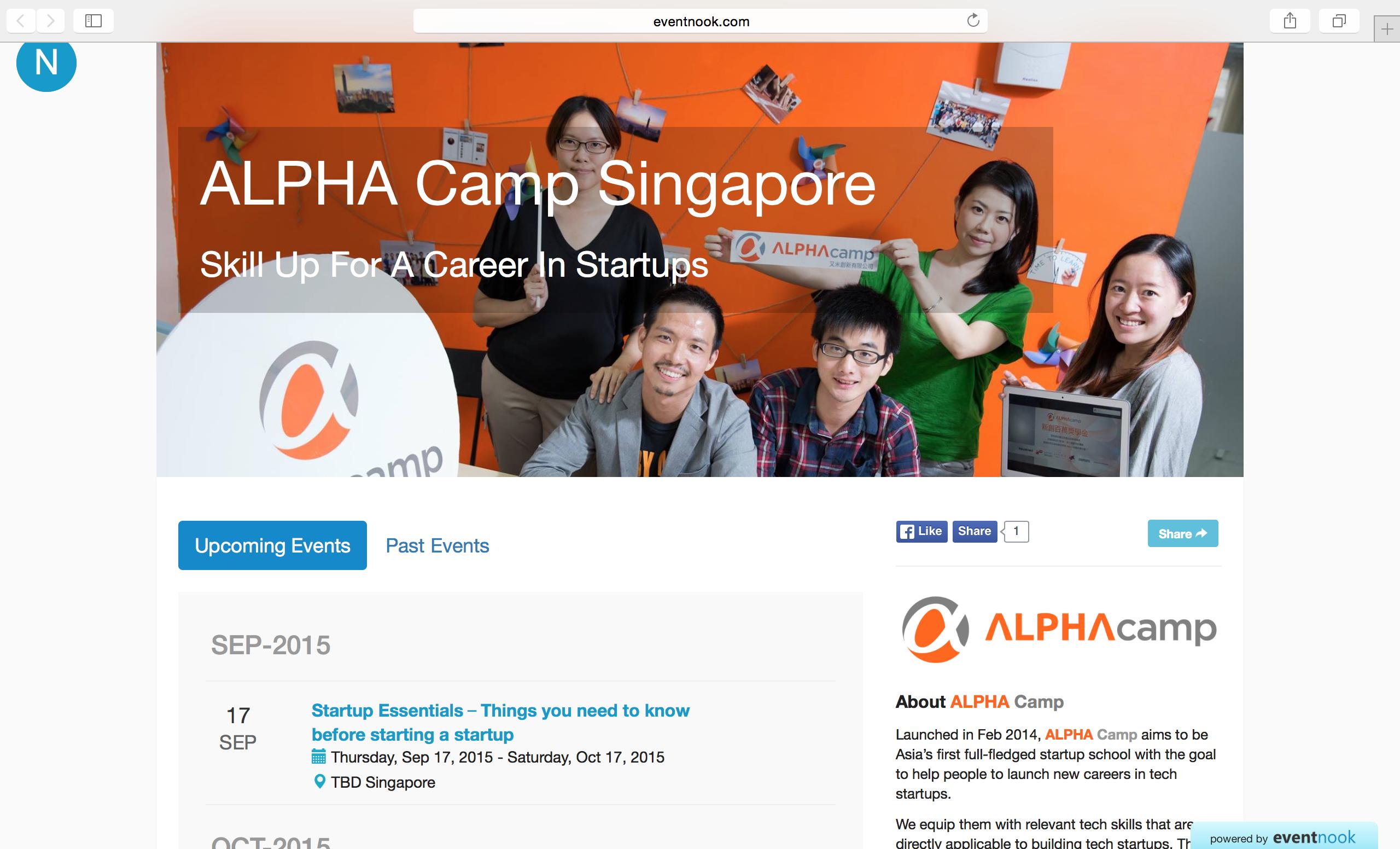 eventnook organiser profile page alphacamp