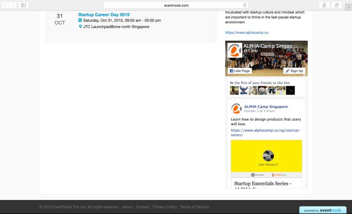 eventnook organiser profile page alpha camp