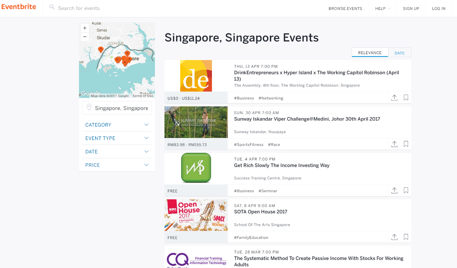 example of some of Eventbrite events from Eventbrite event directory