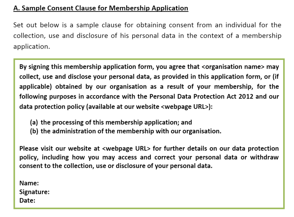 Sample Consent Clause for Membership Application Inform purpose
